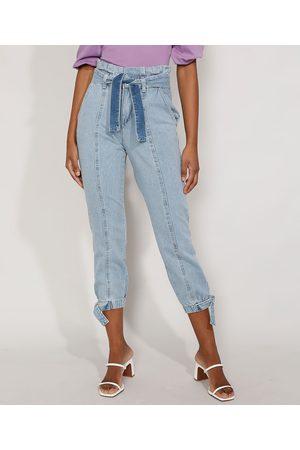 YESSICA Calça Jeans Feminina Jogger Cintura Super Alta com Recortes e Faixa para Amarrar Claro