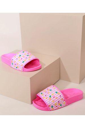 MOLEKINHA Chinelo Infantil Slide Estampa dado Frutas Pink