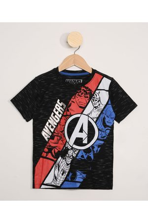 Marvel Menino Manga Curta - Camiseta Infantil Manga Curta Os Vingadores Preta
