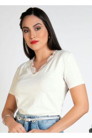 Polowear Blusa Off White com Renda no Decote