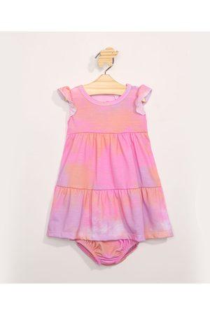 BABY CLUB Vestido Infantil Tie Dye com Recorte Manga Curta + Calcinha Multicor