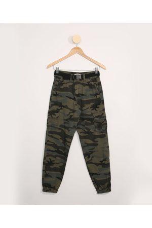 Fifteen Calça de Sarja Juvenil Jogger Cargo Camuflada Verde Militar