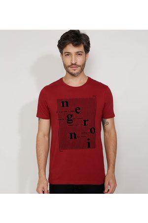 "AL Contemporâneo Camiseta Masculina Slim Manga Curta Negroni"" Flocada Gola Careca """