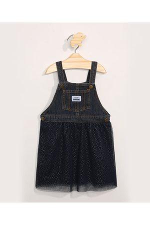 BABY CLUB Jardineira Jeans Infantil com Tule Escuro
