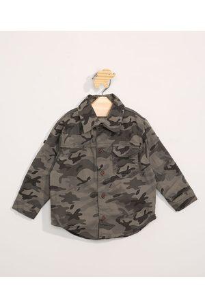 BABY CLUB Camisa de Sarja Infantil Manga Longa Camuflada Verde Militar