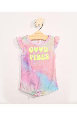 BABY CLUB Blusa Infantil Tie Dye Estampada Manga Curta com Babados Multicor