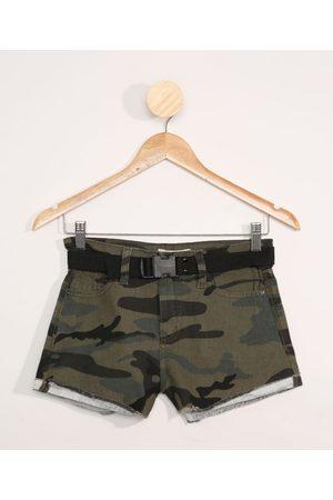 Fifteen Short de Sarja Juvenil Camuflado com Cinto Verde Militar