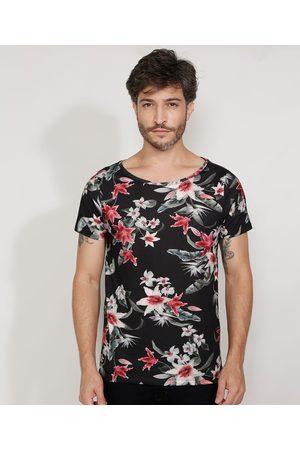 AL Contemporâneo Camiseta Masculina Slim Estampada Manga Curta Floral Gola Canoa Preta