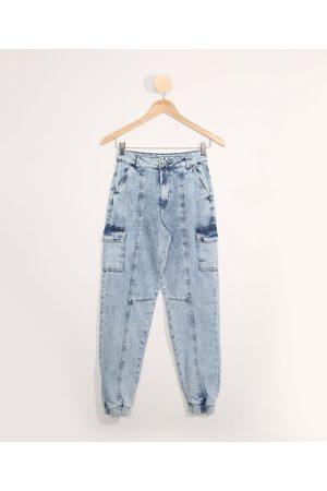 Fifteen Calça Jeans Juvenil Jogger com Recortes Claro