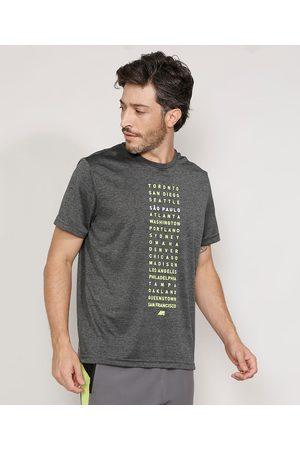 ACE Camiseta Masculina Esportiva Cidades Manga Curta Gola Careca Mescla Escuro