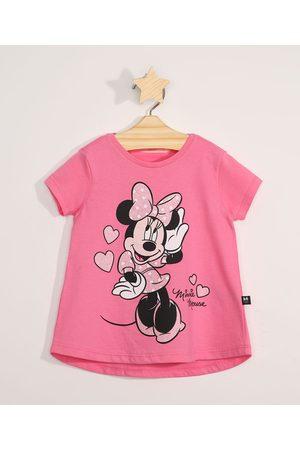 Disney Blusa Infantil Manga Curta Minnie Pink