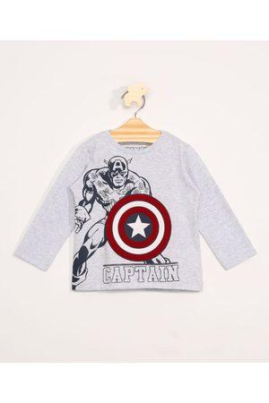 Marvel Menino Manga Longa - Camiseta Infantil Manga Longa Capitão América Mescla Claro