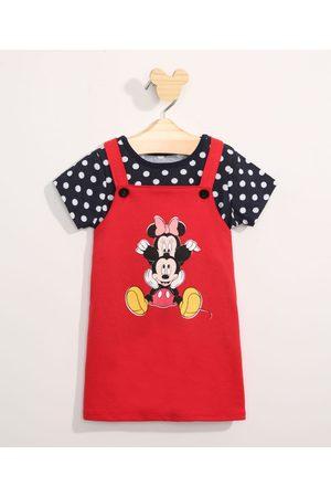 Disney Conjunto Infantil Camiseta Manga Curta Estampada de Poá + Salopete Minnie e Mickey Vermelho