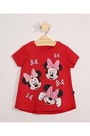 Disney Blusa Infantil Manga Curta Minnie Vermelha