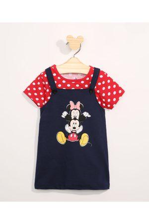 Disney Conjunto Infantil Camiseta Manga Curta Estampada de Poá + Salopete Minnie e Mickey Azul Marinho