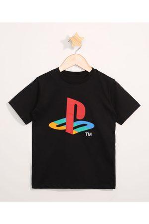 Playstation 3 Camiseta Infantil Manga Curta Preta