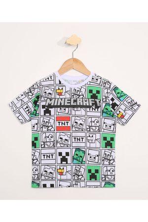 Minecraft Camiseta Infantil Manga Curta Estampada de Branca