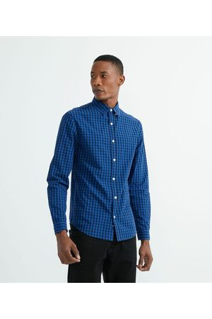Preston Field Camisa Slim Manga Longa Xadrez     Azul   G