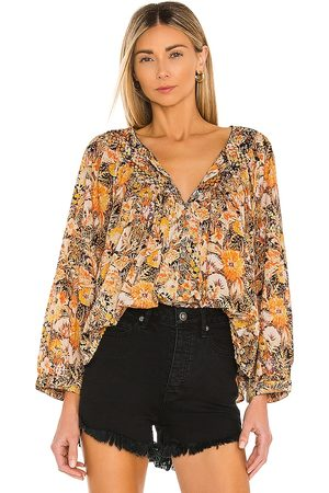 Free People Cool Meadow Printed Top in Brown. - size L (also in M, S)