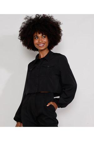Mindse7 Camisa Feminina Mindset Cropped Ampla com Bolsos Manga Bufante Preta