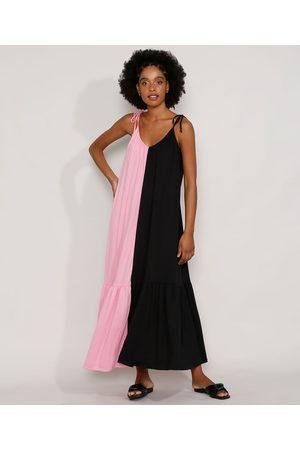 YESSICA Vestido Feminino Longo Amplo Bicolor com Recorte Alça Laço Multicor