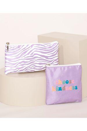 """C&A Kit de 2 Nécessaires Femininas Choose Kindness"""" Lilás"""""""