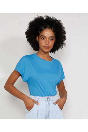 Basics Camiseta Feminina Básica Manga Curta Muscle Tee com Recorte Decote Redondo