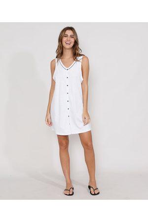 Design Íntimo Mulher Camisola - Camisola Feminina com Botões Sem Manga Branca