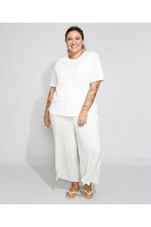 Design Íntimo Pijama Feminino Plus Size Manga Curta Off White