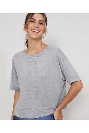 "ACE Camiseta Feminina Esportiva Ampla Strong Mind"" com Brilho Manga Curta Decote Redondo Mescla"""
