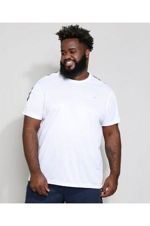 ACE Camiseta Masculina Plus Size Esportiva Manga Curta com Recorte e Estampa Gola Careca Branca