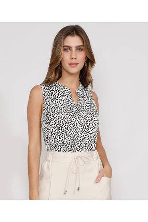 City Mulher Regata - Regata Feminina Estampada Animal Print Guepardo Decote V Off White