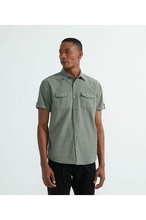 Marfinno Homem Camisa Manga Curta - Camisa Manga Curta em Oxford       G