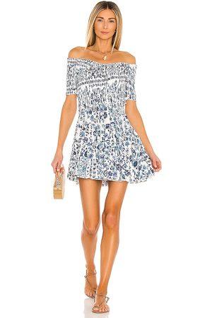 POUPETTE ST BARTH Vestido Ombro a Ombro - Soledad Off Shoulder Mini Dress in Blue. - size L (also in XS)