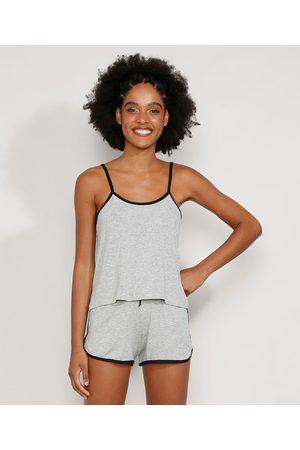 Design Íntimo Pijama Feminino Regata com Viés Contrastante Mescla
