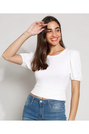 YESSICA Blusa Feminina Manga Bufante Texturizada com Vazado e Nó Decote Redondo Off White