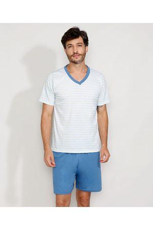 LUPO Pijama Masculino com Listras Manga Curta Branco