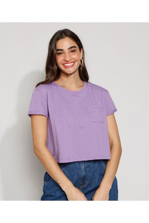 Basics Mulher Camiseta - Camiseta Feminina Básica Manga Curta Cropped com Bolso Decote Redondo Lilás