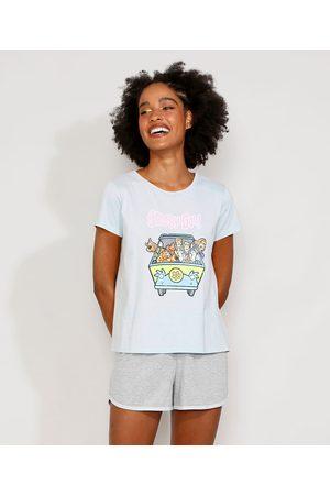 Warner Bros Pijama Feminino Manga Curta Scooby-Doo Claro