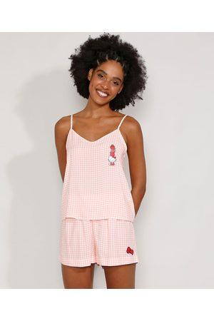 Sanrio Mulher Pijamas - Pijama Feminino Regata Hello Kitty Xadrez Vichy Rosa Claro