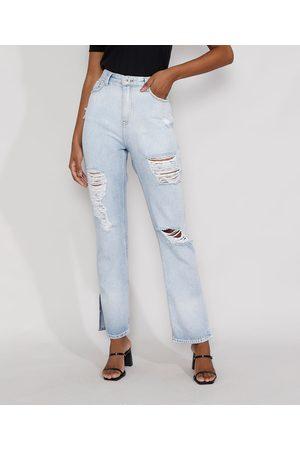 Clockhouse Calça Jeans Feminina Reta Cintura Super Alta Destroyed com Fendas Claro