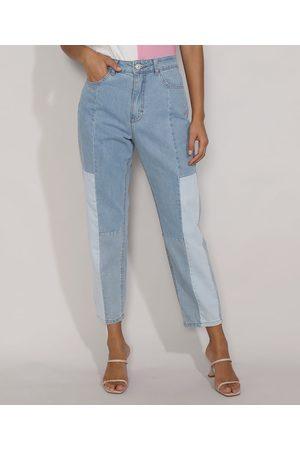 Clockhouse Mulher Calça Cintura Alta - Calça Jeans Feminina Mom Cintura Super Alta com Recortes Claro