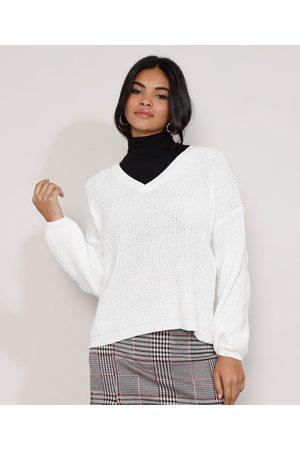 YESSICA Suéter de Tricô Feminino Amplo Decote V Off White