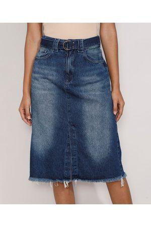 YESSICA Mulher Saia Midi - Saia Jeans Feminina Midi com Fenda e Cinto Escuro