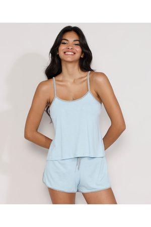 Design Íntimo Mulher Pijamas - Pijama Feminino Regata com Viés Contrastante Claro