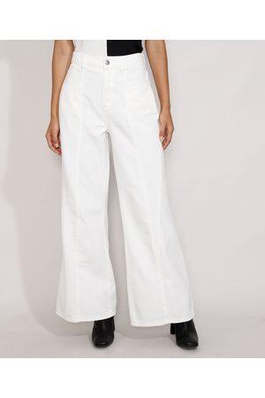 Yessica Mulher Calça de Alfataria - Calça de Sarja Feminina Pantalona Cintura Super Alta com Recortes Off White