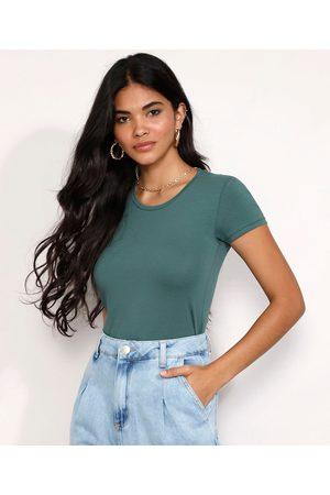 Basics Mulher Camiseta - Camiseta Feminina Básica Manga Curta Decote Redondo Escuro