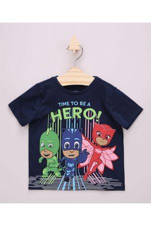 "PJ Masks Camiseta Infantil Time To Be A Hero"" Manga Curta """