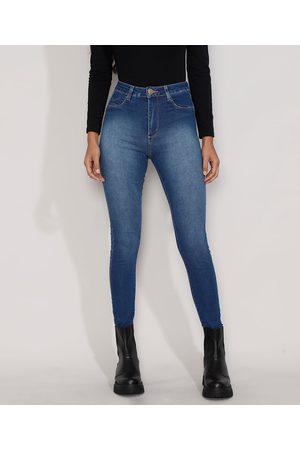 SAWARY Calça Jeans Feminina Cintura Alta Cigarrete Push Up com Barra Degrau Escuro