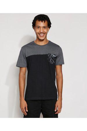 Suncoast Homem Manga Curta - Camiseta Masculina Manga Curta com Recorte e Bolso Estampado Gola Careca Preta